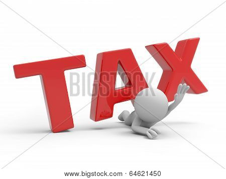 Man with word TAX