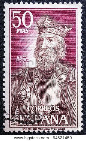 Stamp Printed By Spain, Shows Fernan Gonzalez