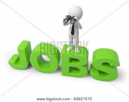 Man with word JOBS and binoculars