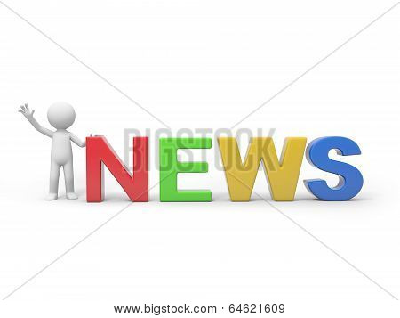 Man with word NEWS