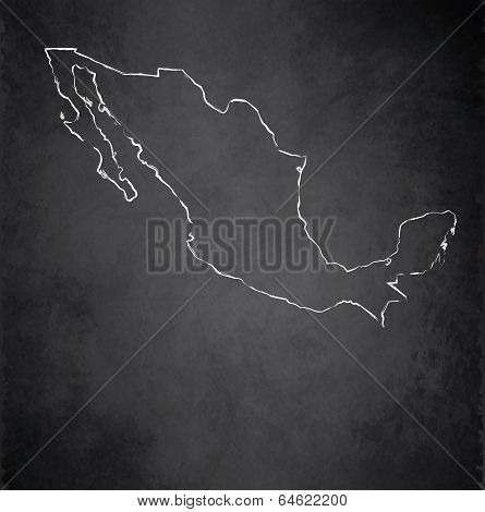 Mexico map blackboard chalkboard raster