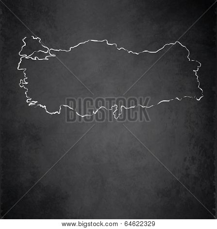 Turkey map blackboard chalkboard raster