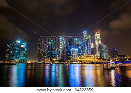 SINGAPORE - January 24: View of skyscrapers in Marina Bay on January 24, 2014 in Singapore. Singapor