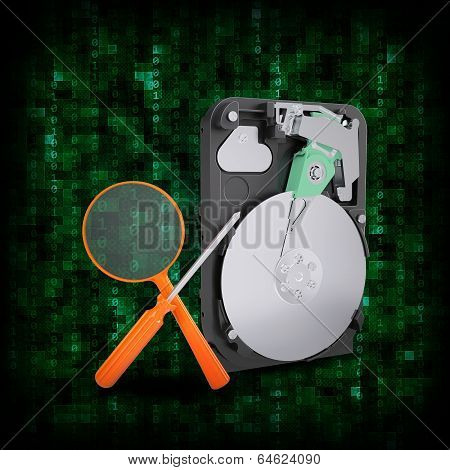 HDD with magnifying glass and screwdriver