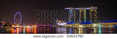 SINGAPORE - JANUARY 25 : Nightscape of Singapore Marina Bay Sand on January 25, 2014, Singapore. Mar
