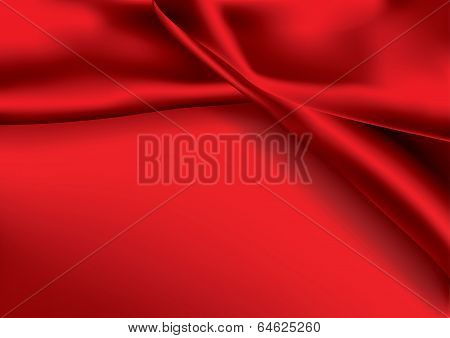 Red Colored Satin Fabric Background - Vector Illustration
