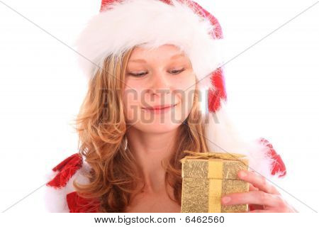 Miss Santa Is Happy About A Gift Box