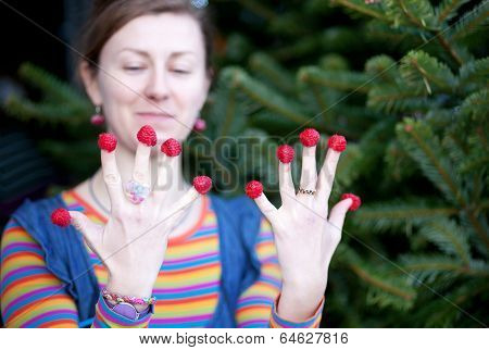 Beautiful Young Girl In Bright Clothes Poses As Amelie With Raspberries