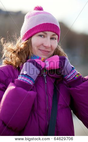 Beautiful Young Girl In Bright Winter Clothes