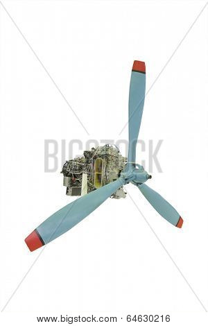 turbo jet engine with propeller under the white background