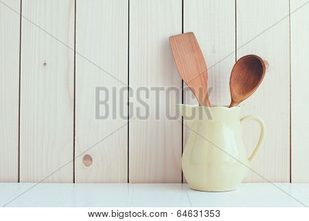 Kitchen Utensils In Ceramic Jug