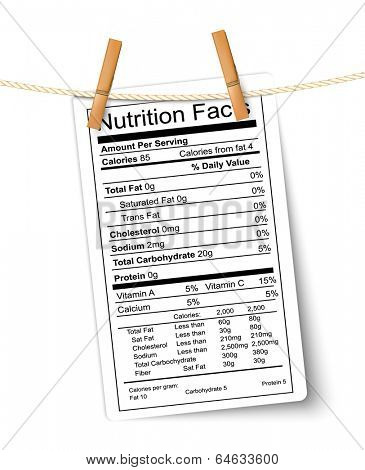 Nutrition facts label hanging on a rope. Vector.