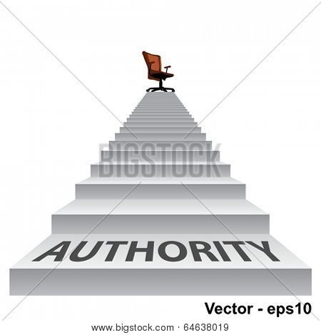 Vector concept conceptual 3d authority stair climbing to a leader,chief or promotion chair on top isolated white background