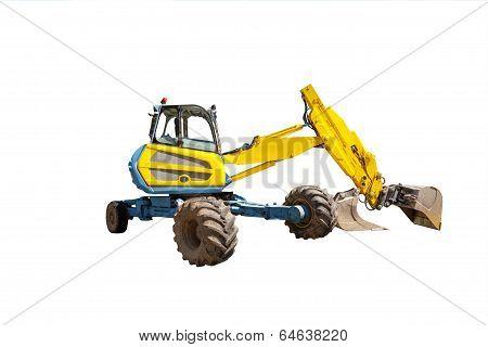 Yellow excavator on the white background
