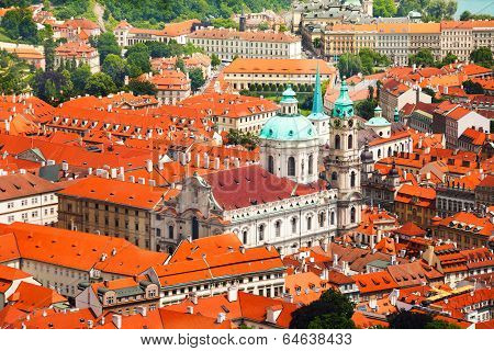 Church of St. Nicholas with red roofs houses view