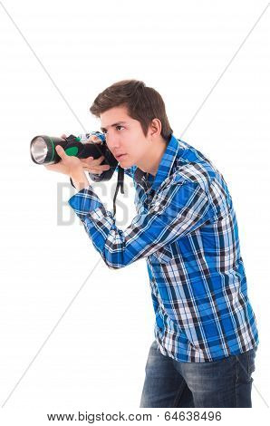 Man searching with flashlight on a white background