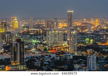 Panorama View Of Bangkok City Scape At Night Time