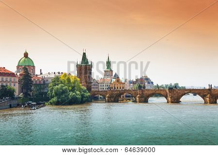 Beautiful Charles Bridge in Prague