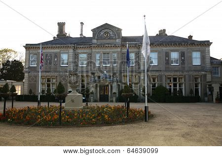 ESSEX, UK - APRIL 16, 2014  Down Hall country house, historical mansion and monastic possession  dat