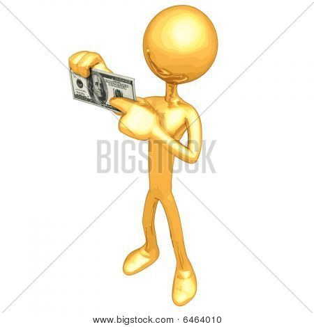 Gold Guy Holding Money