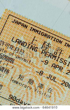 Passport Stamp Visa Of Japan For Travel Concept Background