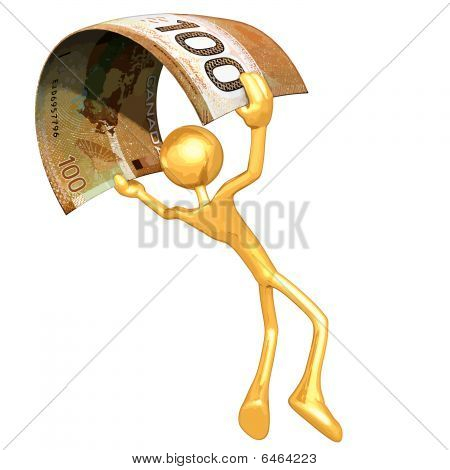 Gold Guy Flying With Money
