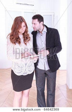 One Caucasian Business Woman Man Couple Dispute Conflict