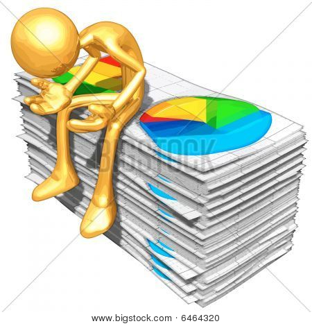 Gold Guy With Business Reports