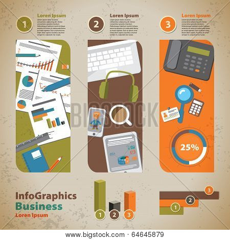 Template For Infographic With Graphics Of The Business Process In Vintage Style
