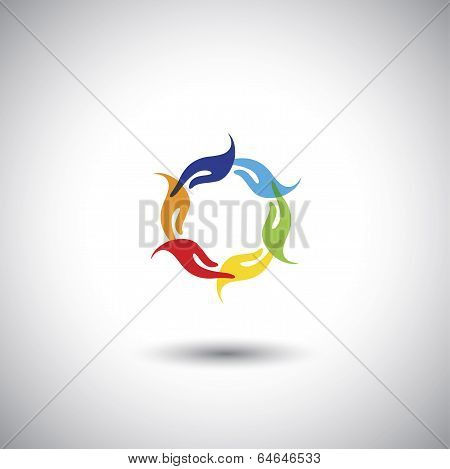 Colorful People's Hands Multi Racial Community - Concept Vector.