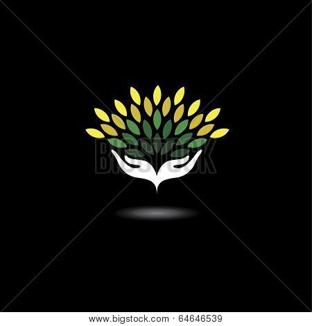 Eco Friendly Icon With Girls Hands And Green Leaves - Concept Vector