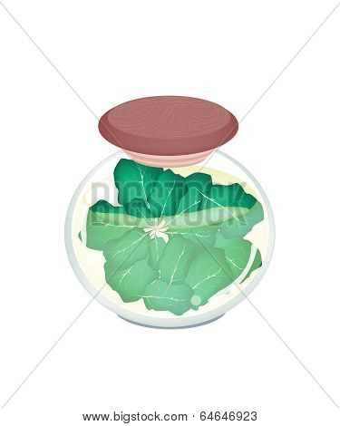 A Jar Of Delicious Pickled Collard Greens