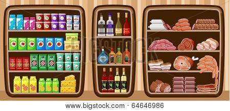 Supermarket. Shelfs With Food.
