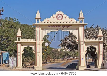 Gate Of Spiritual Scool Of Aryan Girls In Porbandar