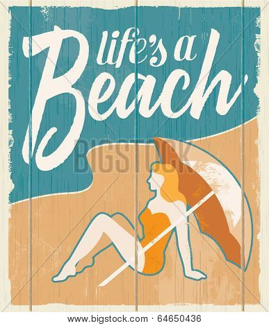 Vintage retro beach poster - Vector wooden sign with removable texture.