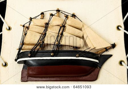 Wooden Ship Figurine