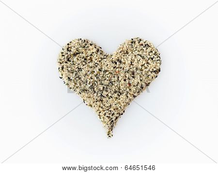 Hemps seeds heart isolated on white