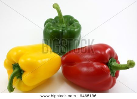 organic fresh peppers - green, yellow, red