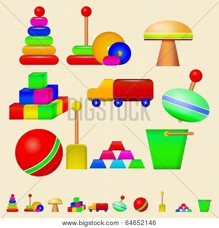 Illustration of children toys