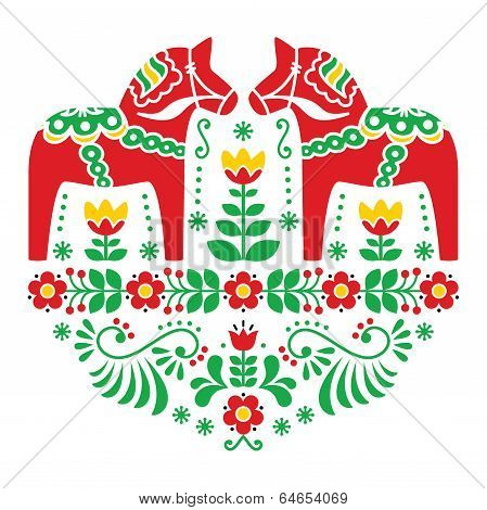 Swedish Dala or Daleclarian horse floral folk pattern