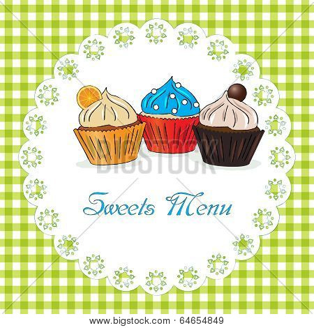 Sweets menu vector illustration