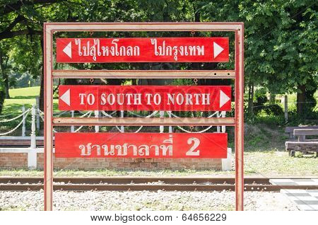 North South Sign, Thai Railway