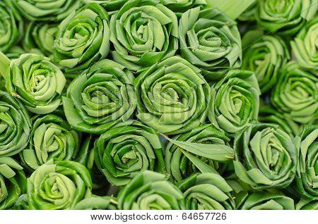 Rose made from pandan leaves