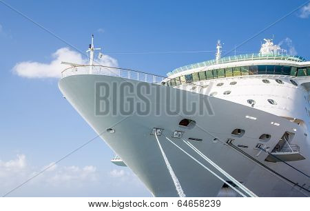 Ropes Up To Bow Of Cruise Ship