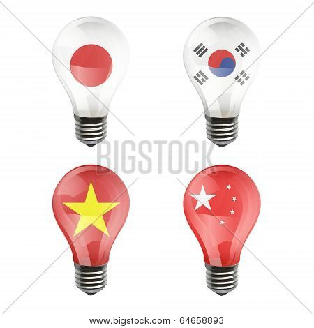 Realistic Bulb Of Japan, Korea, China, Vietnam