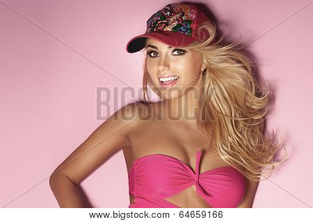 Sensual Blonde Woman Looking At Camera.