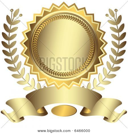 Silvery award with ribbon (vector)