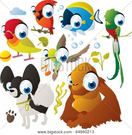 Vector animal set: lovebird, orangutan, quetzal, cardinal, hummingbird, dog, fish
