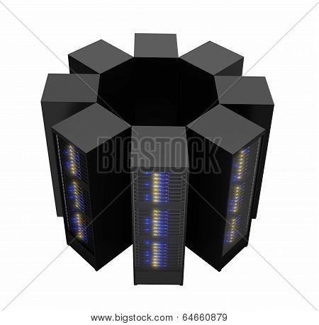 Server Racks Arranged In Cluster