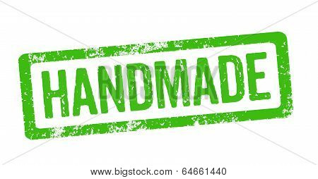 Green Stamp on a white background - Handmade